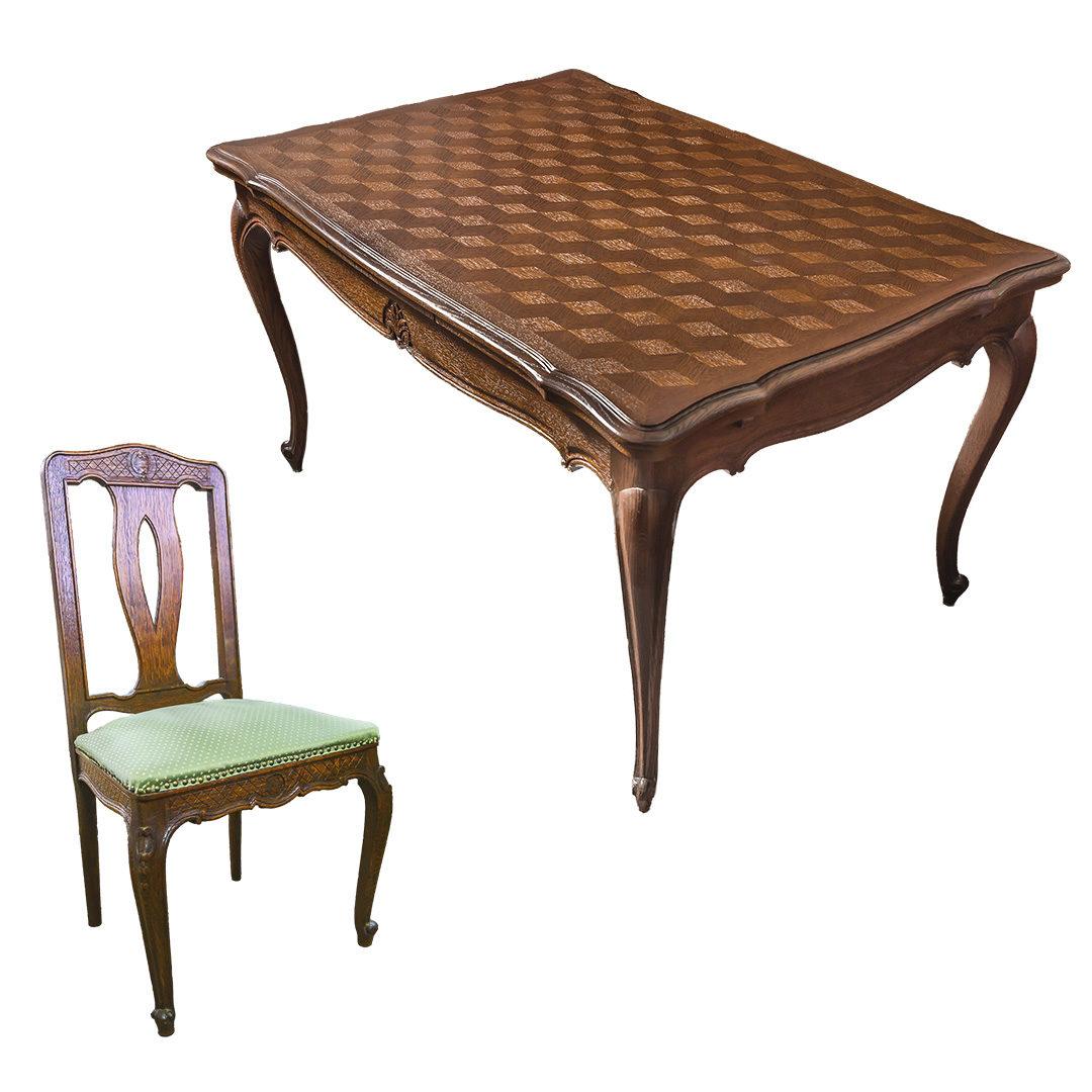 Stol + 6 krzesel Ludwik